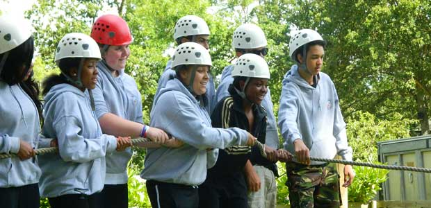 Secondary school children taking part in an outdoor activity